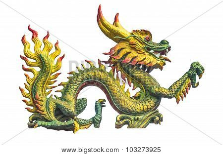 Dragon Statue On The Chinese Temple Roof