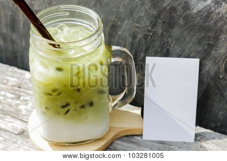 Iced Green Tea Latte With Blank Name Card