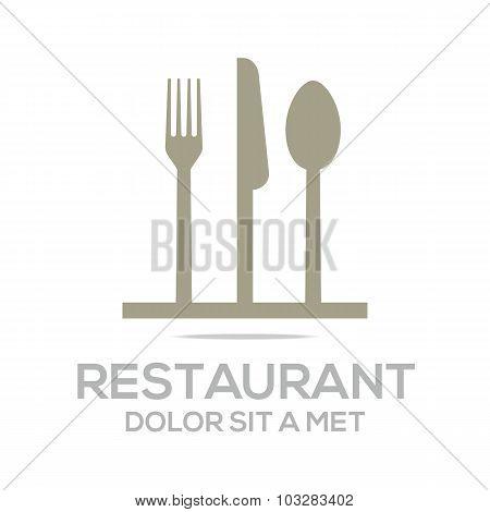 Logo kitchen set utensils restaurant