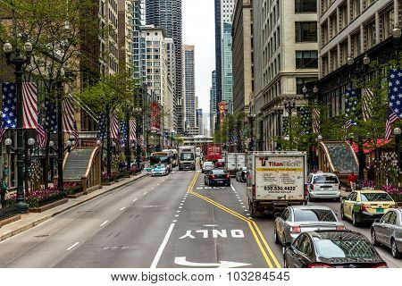 CHICAGO, USA - CIRCA MAY 2015: The downtown of Chicago, Illinois, USA