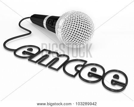 Emcee word in a microphone cord to illustrate a master of ceremonies or MC who is a host for an event, ceremony or award competition or show