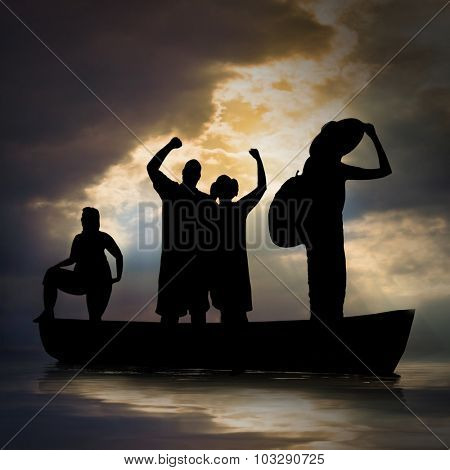 Refugees on the sea. IIlegal immigration theme.