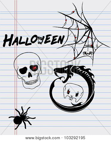 Halloween Drawings On A Sheet Of Paper