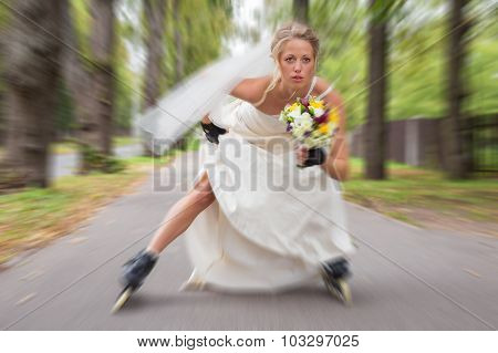Runaway bride on roller skates