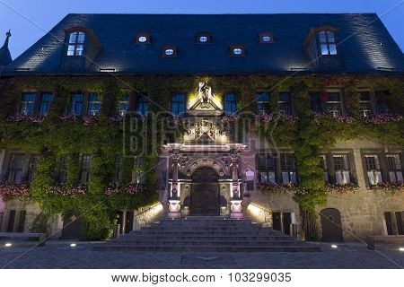Quedlinburg townhall, East Germany, at night