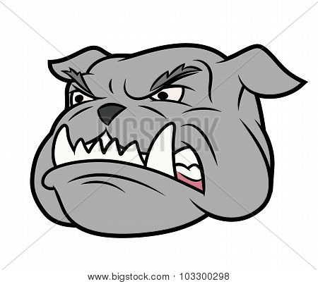 Illustration of the furious aggressive bulldog head poster