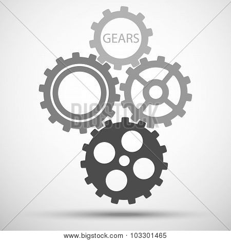 gears (cogs) is meshed on gray background. vector illustration eps10