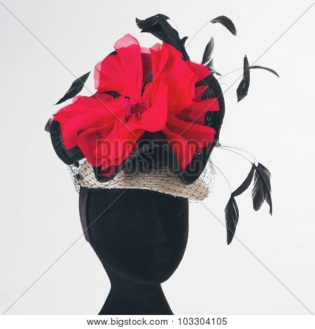 Red Flower And Black Feathers Races Hat