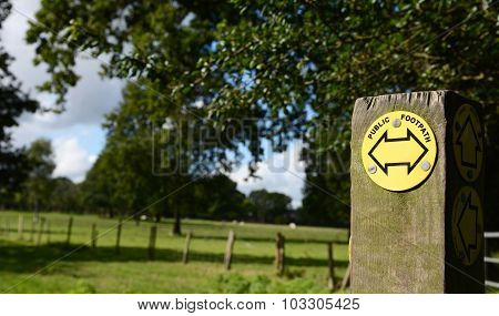 Public Footpath Sign Points Left And Right