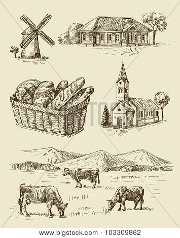 farm and animals hand drawn