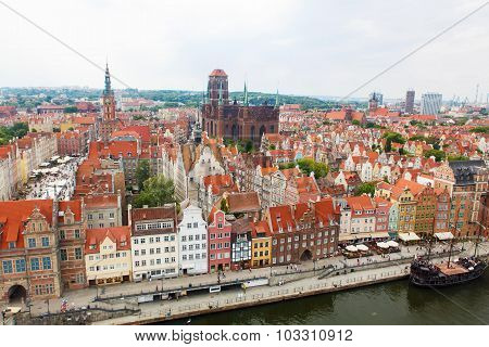 Top View On Gdansk Old Town And Motlawa River