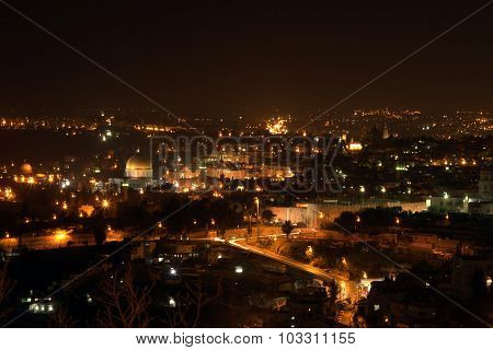 Night View on Old City, include Dome Of The Rock in Jerusalem