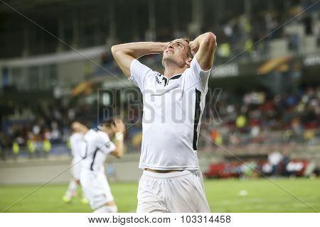 Robert Mak During The Uefa Europa League Game Between Qabala And Paok, In Baku, Azerbaijan.