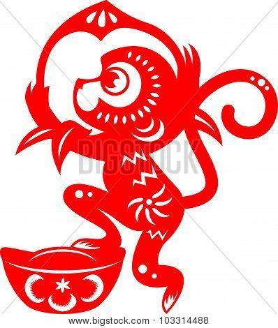 Red paper cut monkey zodiac symbol (monkey holding peach and monkey)