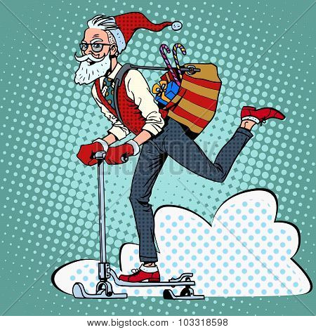 Hipster Santa Claus spreads the Christmas gifts on a scooter sle