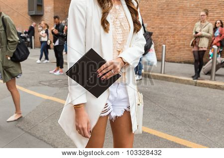 Detail Of A Woman Outside Laura Biagiotti Fashion Show Building In Milan, Italy