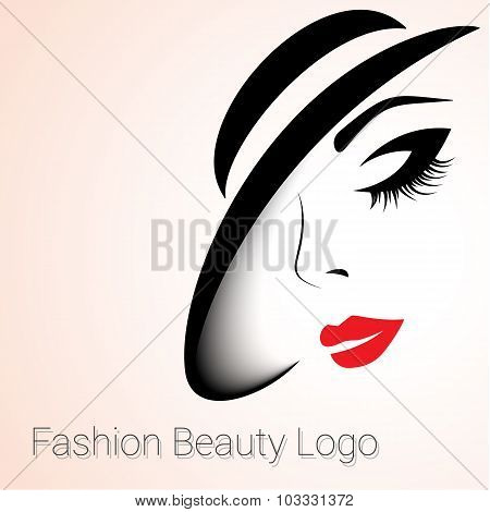 Fashion Beauty Logo. Woman with Hat