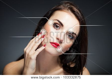 Beauty face concept anti aging procedures on facial skin poster