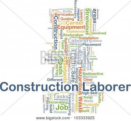 Background concept wordcloud illustration of construction laborer