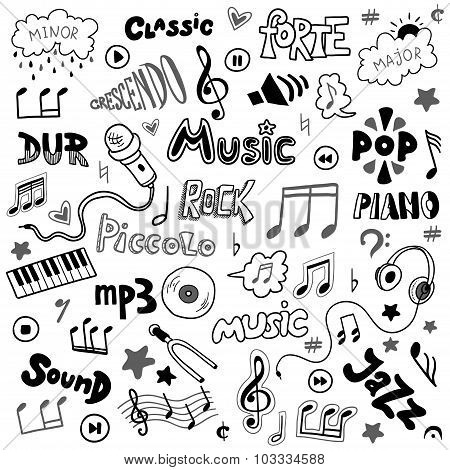 Vector set of hand drawn doodles on music theme. Colorless music symbols and words poster