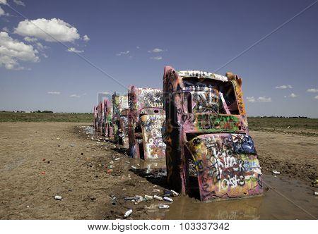 Graffitied Cadillacs