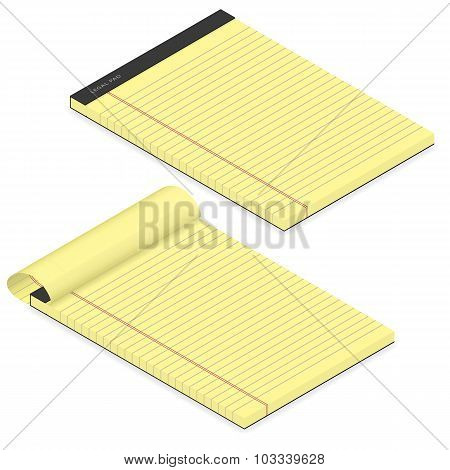 Legal pad isometric detailed icon set vector graphic illustration poster