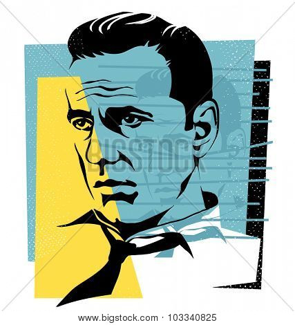 Oct.1, 2015: vector Illustration of actor Humphrey Bogart in retro style
