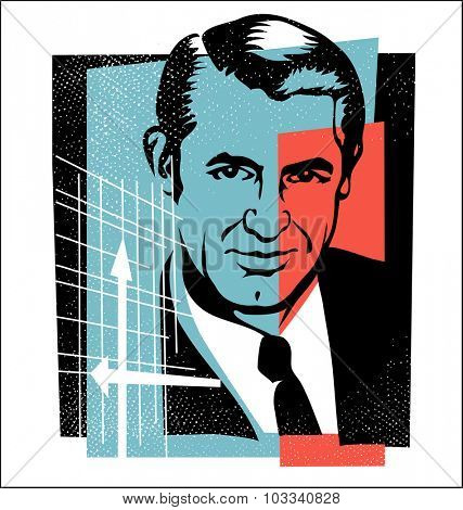 Oct.1, 2015: vector Illustration of actor Cary Grant in retro style