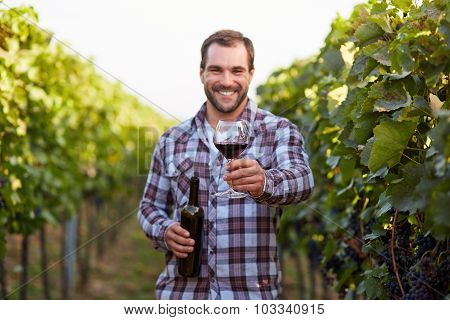 Glass Of Red Wine In Hand, The Young Winemakers In The Vineyard