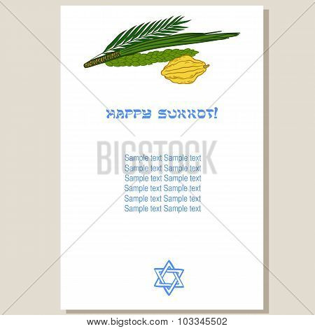 Sukkot Festival Greeting Card Design Vector Template.