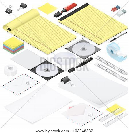Office stationery detailed isometric icon set vector graphic illustration poster