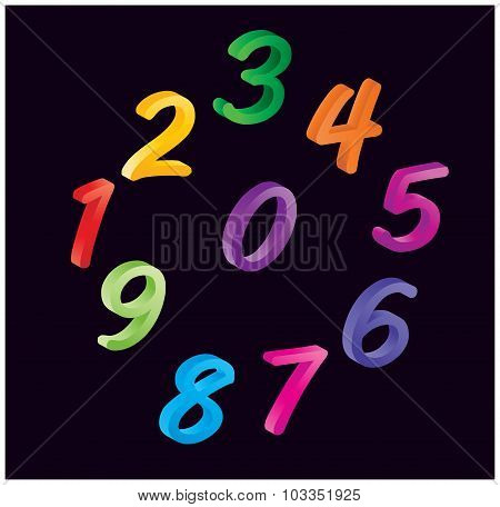 Set Of Colorful Cartoon Numbers, Digits. Funny And Cheerfull Illustration For Children Isolated On B