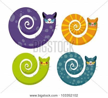 Cat With  Long Tail. Snake Cat. Set Of Fantastic Animals Color Coloring. Unrealistic Pet.