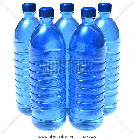 Set of bottles of water isolated over white background poster
