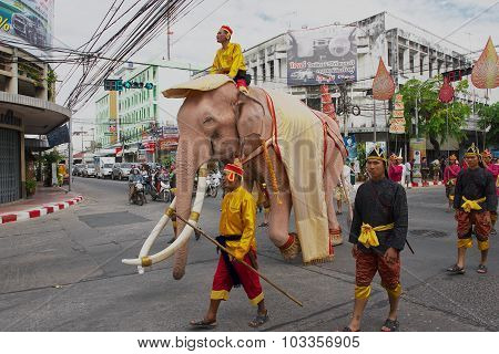 People take part in the famous Elephant parade in Surin Thailand.
