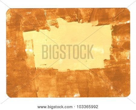 Abstract Acrylic Brushstrokes Golden Background Texture With Round Corners, With A Place For Text