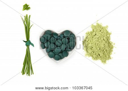 Chlorella, Spirulina And Wheatgrass.