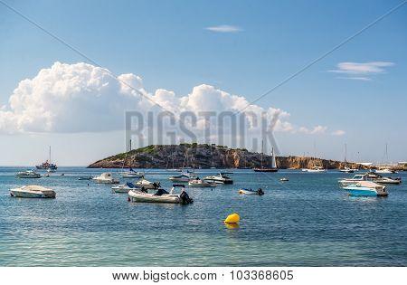 Motor Boats At Blue Lagoon. Ibiza, Spain