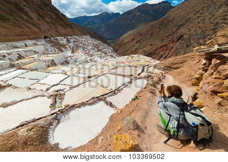 White Salt Basins On The Peruvian Andes