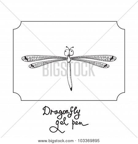 Vector drawing dragonfly