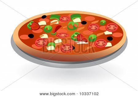 isolated tomato pizza vector
