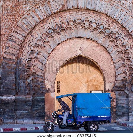 Marrakech, Morocco - Circa September 2015 - People At The Bab Agnou Entrance To The Medina