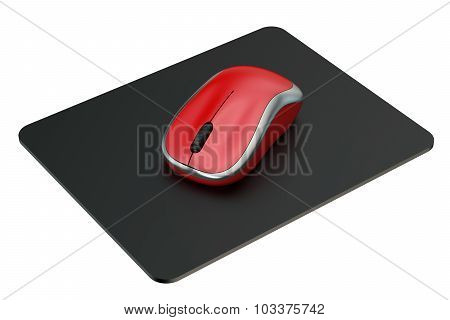 Red Wireless Computer Mouse On Mouse Mat