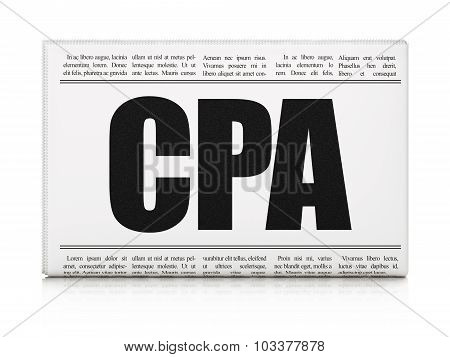 Finance concept: newspaper headline CPA