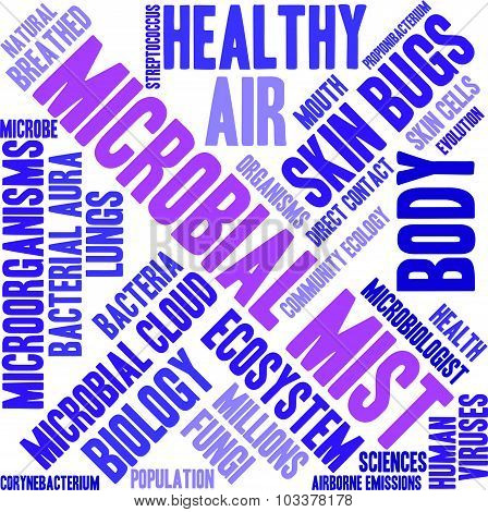 Microbial mist word cloud on a white background. poster
