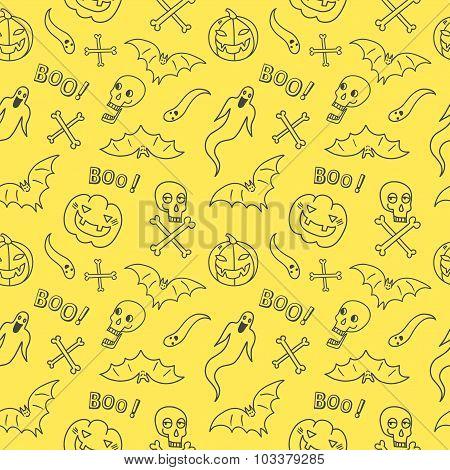 Halloween Hand Drawn Seamless Pattern