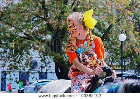 girl in tgra day in Vladivostok