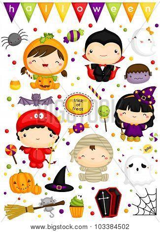Kids in halloween costume