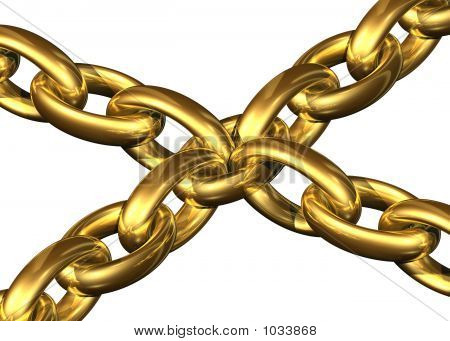 golden chains kept toghether by a central chain element on a white background poster