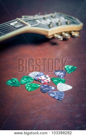 Many Guitar Picks Plectrum In Different Colors